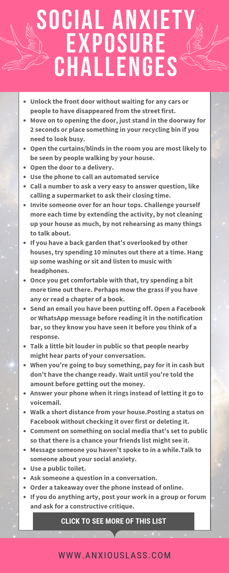 Social Anxiety Challenge List For Exposure Therapy - Anxious Lass